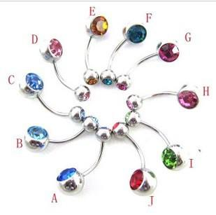 wholesale Multicolor Crystal Belly Rings silver Body Jewelry Jewellery Body Piercing Spike belly rings navel ring stud earring ss1