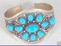 ingrosso polsini d'argento turchese-Braccialetto del polsino del turchese del tallone d'argento del Tibet all'ingrosso poco costoso