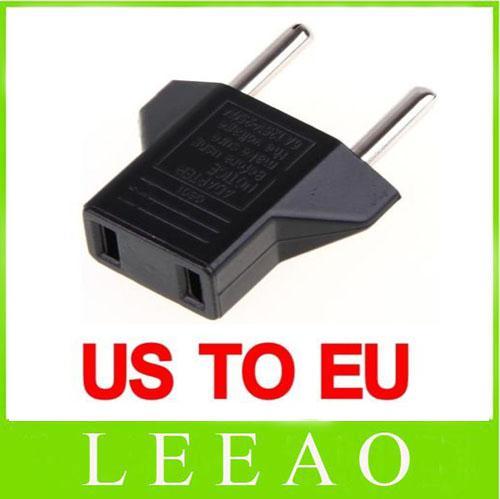 top popular 1200pcs lot # Universal USA US to EU Euro Plug Power Converter Travel Charger Adapter Black 2021