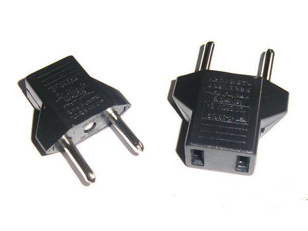 1200 pçs / lote # Universal EUA EUA para a UE Euro Plug Power Converter Carregador de Viagem Adaptador Preto