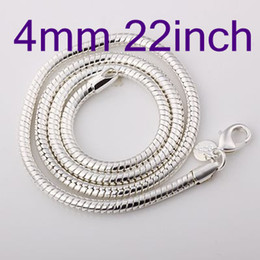 $enCountryForm.capitalKeyWord NZ - Concise Men's Silver 925 Snake Chain Necklace ,Fashion Jewelry 4mm 22inch Silver Necklaces 15Pcs Good Selling