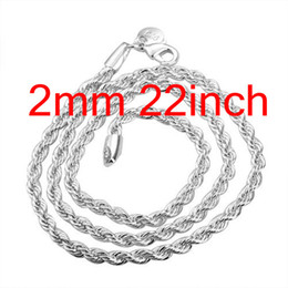 Wholesale 925 sterling silver chains 22inch - Trendy Elegant 925 Silver Rope Chain Necklace ,Wholesale Fashion Jewelry Silver Necklaces 22inch 20Pcs Free Shipping