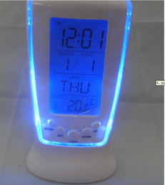 Wholesale Household Thermometers - Digital Thermometer Clock LCD Alarm Calendar LED Backlight Desktop Clocks with Blue Backlight O126