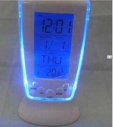 Wholesale Digital Lcd Calendar - Digital Thermometer Clock LCD Alarm Calendar LED Backlight Desktop Clocks with Blue Backlight O126