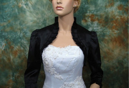 Wholesale Satin Bolero Wedding Dress - 2012 Black 3 4 sleeve satin wedding bolero jacket shrug Taffeta Ruffle wedding dress