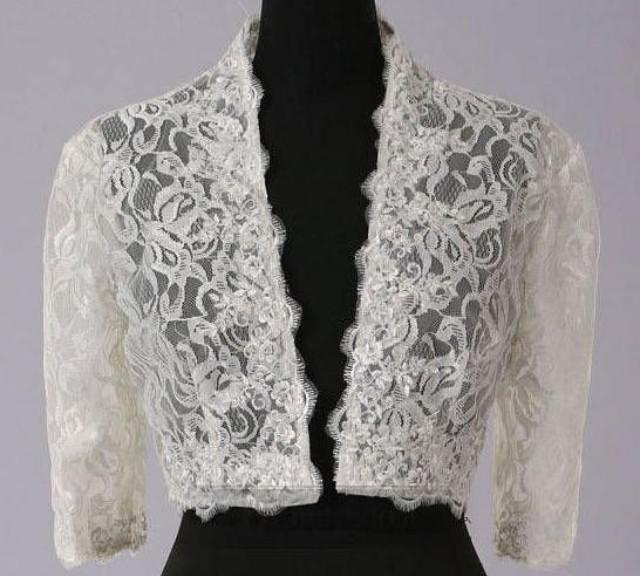 White Wedding Dress Jacket: 2019 2012 New Arrival White/Ivory Color 3/4 Sleeves Lace