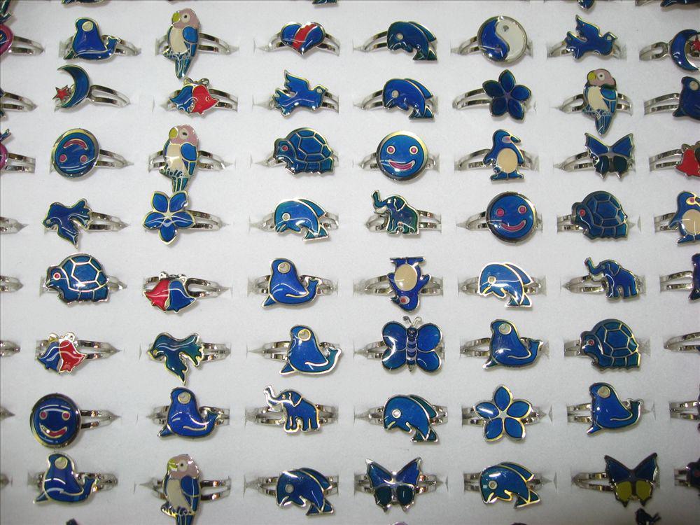 الجملة 500 قطع مزاج حلقات الحيوانات مختلطة فراشة، ابتسامة، القلب، السلام حمامة الأزياء حلقات مجوهرات الاب