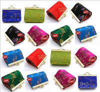 Wholesale Mini Gift Favor Bag - Mini Favor Bags size 7.5x4.5 cm Stock Silk Flower Metal buckle Gift Wrapping 12pcs lot Free