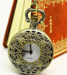 Wholesale Skeleton Watch Necklace - Unisex Steampunk Hollow Antique Pocket Watch Skeleton Men Women's Necklace Watches
