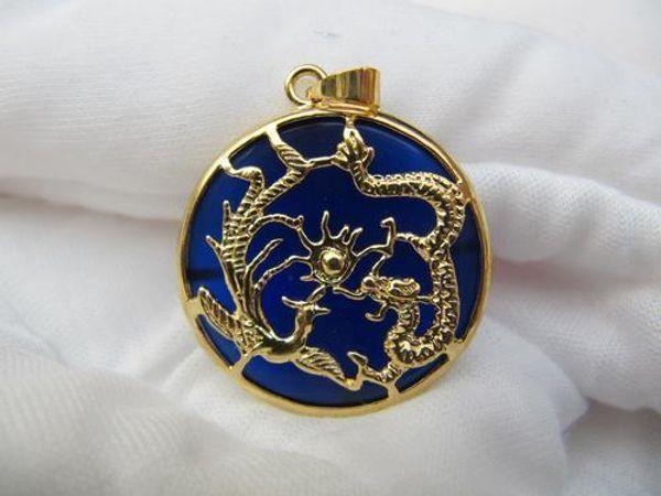 Collier bijou dragon en jade bleu Vogue