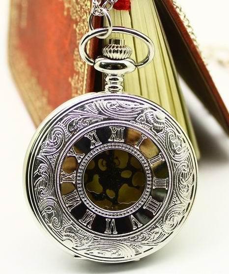 골동품 스타일 새겨진 중공 주머니 시계 여성 펜던트 목걸이 망 주머니 시계