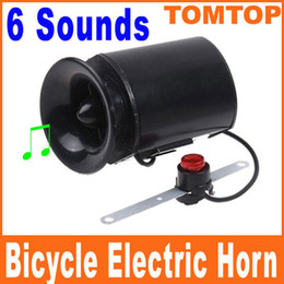 Wholesale Siren Horns - 6 Sounds Black Bicycle Electronic Bell Alarm Siren Horn Loud Speaker H8200