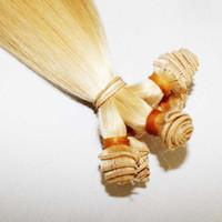 "Wholesale Hand Tied Weft Hair Remy - 20"" , "" #613 bleach Blonde Remy human hair extension hand- tied hair weft 100g pcs 3pcs lot"