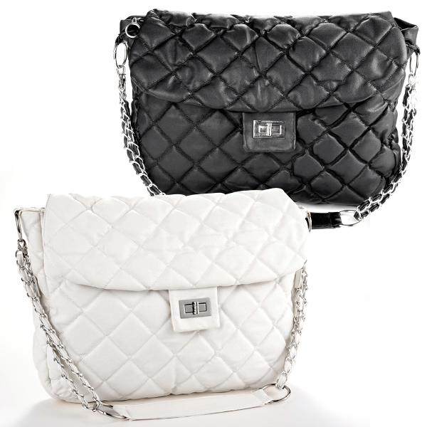 1866ef2bc2 Women Fashion Shoulder Bag Quilting Quilted Chain Cross Handbag White Black  Discount Designer Handbags Wholesale Purses From Fashion4style