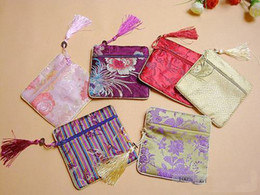 Discount chinese silk brocade - Luxury Tassel Zipper Small Gift Bags for Jewelry Packaging Coin Purse Chinese Silk Brocade Favor Pouches 10pcs lot mix c
