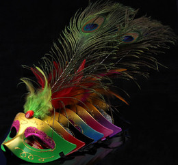 Wholesale Long Dress For Masquerade Party - Masquerade Mask Long Peacock Feather Mask Halloween party costume carnival Venetian fancy dress opera prom mix color EMS free shipping
