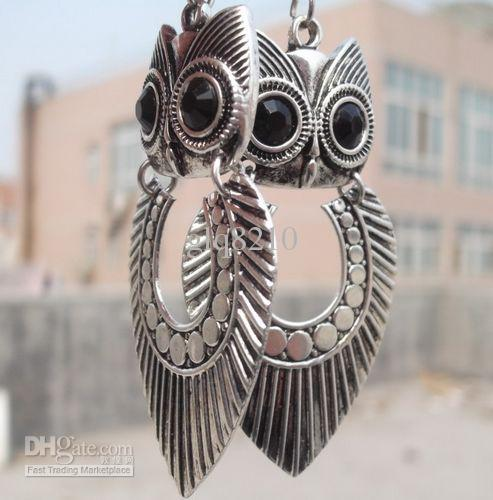 Nova Chegada Tribal Do Vintage Tibetano Prata Big Owl Pingente Brincos Personalidade Jóias Estoque 30pir