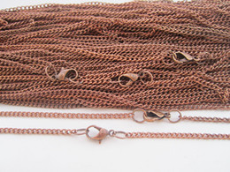Wholesale Iron Lobster - 60cm Inlaid copper color necklace chain 2mmx3mm with lobster clasps for jewelry making 50pcs lot