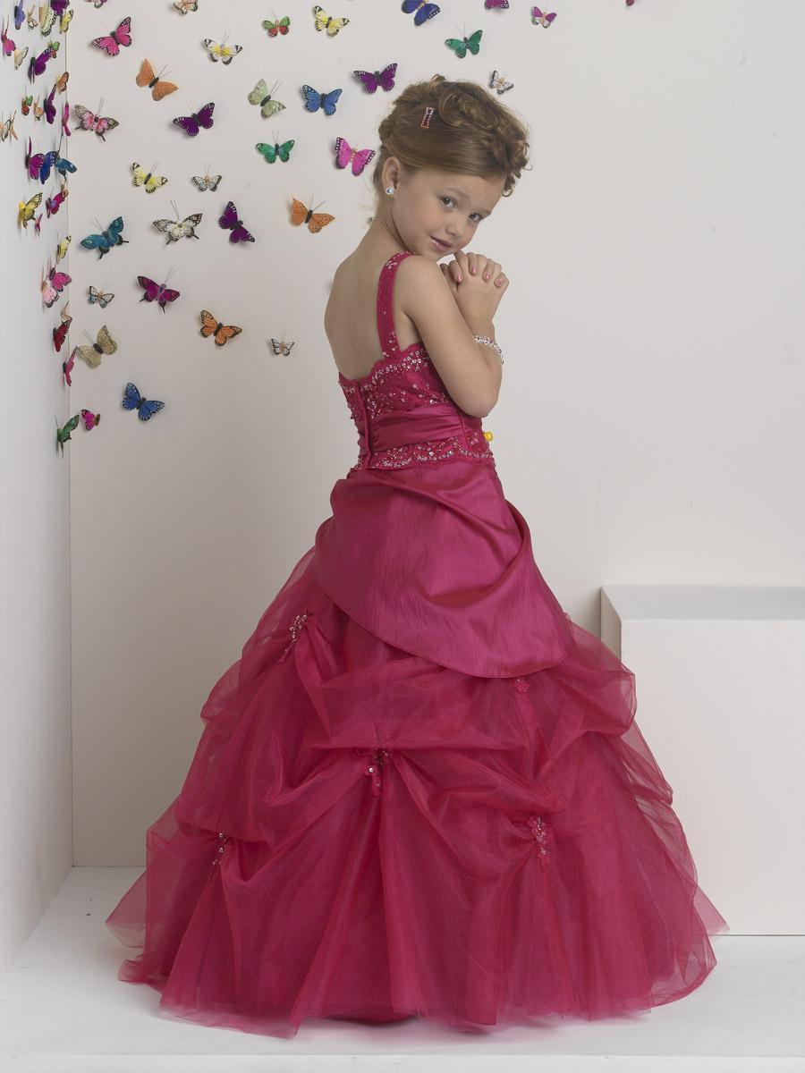 사랑스러운 Fushcia 핸드폰 줄 꽃 꽃 소녀 드레스 소녀 옷 입히기 휴일 휴일 생일 입상 맞춤형 SZ 2-14 F423015