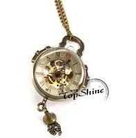 relógios de bolso de estilo antigo venda por atacado-Unisex Antigo Olho De Peixe Estilo Retro Mecânica Pocket Watch Hand-Winding Homens Relógios De Bolso