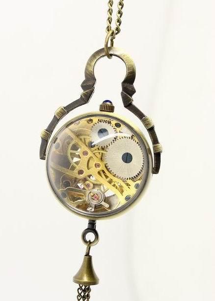 Unisex Antike Fischauge Stil Retro Mechanische Taschenuhr Handaufzug Männer Taschenuhren