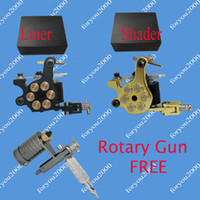 Wholesale Rotary Plastic Tattoo - 2 Bullet Tattoo Machines (Liner+Shader)& 2 Plastic Boxes + 1 Top Rotary Machine For Free Kits Supply