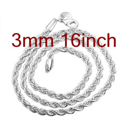 Wholesale Sterling Silver Rope Chain 3mm - Wholesale Jewelry 925 Silver Rope Chain Necklace ,Fashion Top Sale Silver Necklaces 16inch 3mm 10Pcs Free Shipping