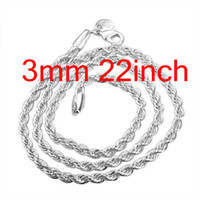 Wholesale Trendy Top Sale - Free Shipping Silver 925 3mm Rope Chain Necklace , Trendy Top Sale Bling 925 Silver Necklaces 22inch 20Pcs
