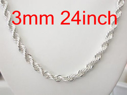 Wholesale 3mm Silver Necklace Chains - Free Shipping Silver 925 3mm Rope Chain Necklace , Vogue Bling 925 Silver Necklaces Good Selling 15Pcs