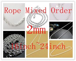 $enCountryForm.capitalKeyWord NZ - Hot Sale Personalized Men's 925 Silver Rope Chain Necklace Jewelry , Mixed 2MM Size 16inch~24inch Necklaces 50Pcs