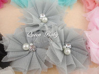 """Wholesale Tulle Flower Rhinestone Center - Trial order 2.5""""Mini Tulle Mesh Flowers With Rhinestone Pearl Center Poof Flowers Flat 50pcs lot"""
