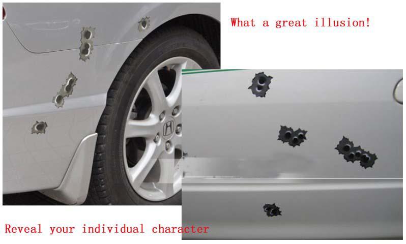 / 가짜 총알 구멍에 대 한 저렴 한 도매 비닐 재미 있은 자동차 스티커 데 칼 사용자 지정 자동차 스티커