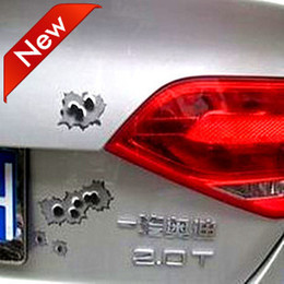 Wholesale Bullet Custom - 100pcs LOT Cheap Wholesale Vinyl Funny Car Stickers Decals For Fake Bullet Holes Custom Car Stickers