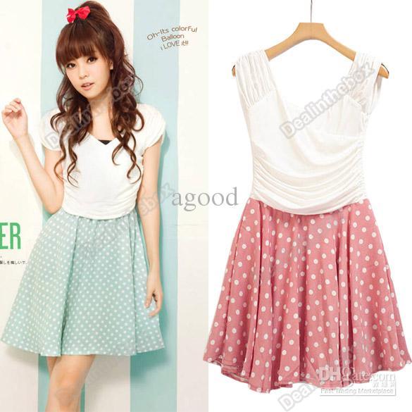 New Fashion Women 39 S Korean Fresh Sweet Short Sleeve Spot Pattern Clothes Mini Dress Agood 3822