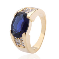 Wholesale Sapphire Gold Filled - Handsome Men's Blue Sapphire 10KT Yellow Gold Filled Ring Size 9 10 11 Best Gift Free Shipping
