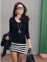 Wholesale Stripe Mini Skirt Dress - 2016 Fashion Sexy Women lady slim long sleeve Primer one-piece dress black short stripe Skirts