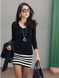 Wholesale Sexy Slimming Mini Skirt - 2016 Fashion Sexy Women lady slim long sleeve Primer one-piece dress black short stripe Skirts