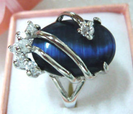 Wholesale Silver Blue Opal Ring - Exquisite blue opal crystal women's ring size:7,8,9