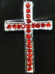 Wholesale Side Ways Metal Crosses - 30pcs Silver Plated Curved Side Ways Red Crystal Rhinestones Cross Bracelet Connector Charm Bead
