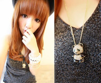 Wholesale Teddy Bear Necklace Pendants - Wholesale-diamond Lovely panda necklace diamond teddy bear necklace sweaterchain necklaceYK7