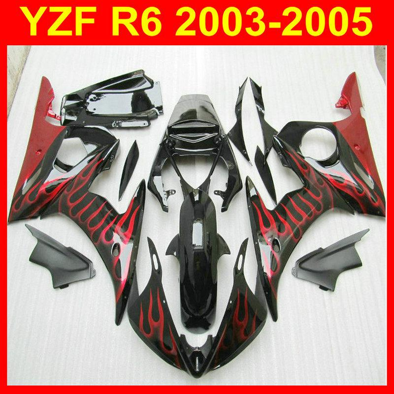 Red flame in Black ABS Fairings for YZF-R6 2003 2004 2005 YZF R6 03 04 05  yzf600 YZFR6 03-05