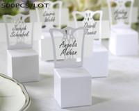 silla de papel de boda cajas de dulces al por mayor-500pcs / lot cajas de papel del paquete de boda para el caramelo y dulce de cajas de regalo silla blanca en miniatura y caja de regalo del partido