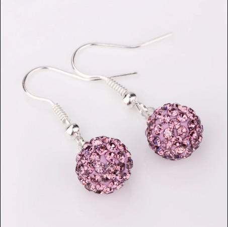 Jewelry mixed hot new fashion crystal ball earrings popular gift jewelry free shipping 30pair/lot