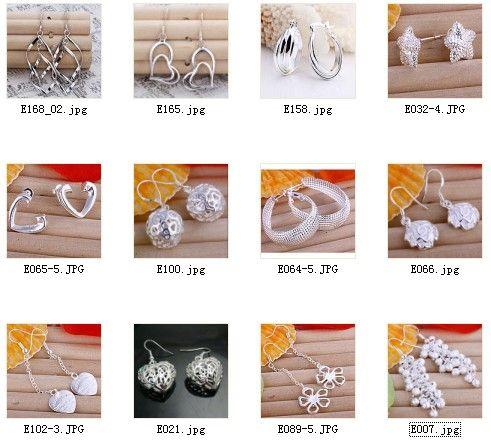 Joyería mezclada de alta calidad 925 pendientes de gota de plata de ley regalos de la manera envío gratis 12 par / lote