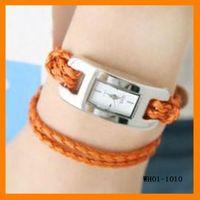 halat bilezik saatleri toptan satış-10 adet / grup El dokuması deri halat kadın bilezik saatler WH01-1010