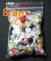Wholesale Half Pearl Round - 200pcs 8MM Mixed Color Half Round Pearls Beads Flatback Scrapbooking Embellishment Craft DIY