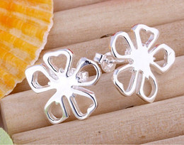 Wholesale Silver Stud Flower Earings Wholesale - Fashion Jewelry Flower Jewelry Lovely Flower Earring 925 Silver Earings Stud Unisex Earring Jewelry 20pairs lot