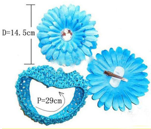Wholesale Crochet Hair Bow flower Baby HeadBand mixed colors clips