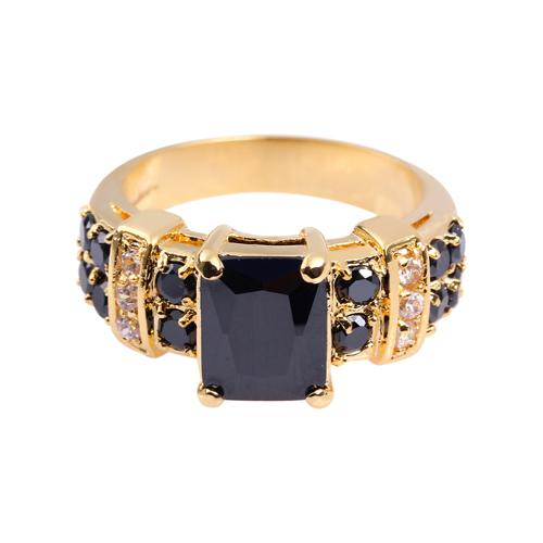 Atordoamento dos homens 10KT Yellow Gold Filled Black Sapphire Ring 8/9/10/11/12 Hot Gift