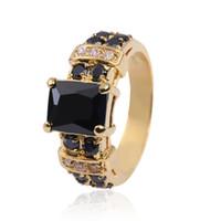gelbgold saphir ring großhandel-Das 10KT gelbes Gold der erstaunlichen Männer füllte schwarzen Saphir-Ring 8/9/10/11/12 heißes Geschenk